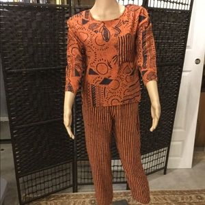 Orange And Black Pants And Top Set Size S